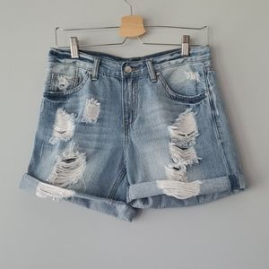 Angel Kiss Distressed Light Denim Jean Shorts